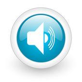 Volume blue circle glossy web icon on white background — Stock Photo