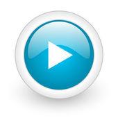 Jugar icono web brillante círculo azul sobre fondo blanco — Foto de Stock