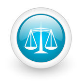 Justice blue circle glossy web icon on white background — ストック写真