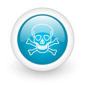 Icône de papier glacé web crâne cercle bleu sur fond blanc — Photo