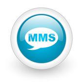 Mms синий круг глянцевый web значок на белом фоне — Стоковое фото