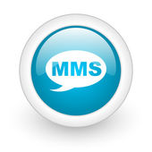 Mms blue circle glossy web icon on white background — Foto Stock