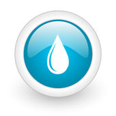 Water drop blue circle glossy web icon on white background — Stock Photo