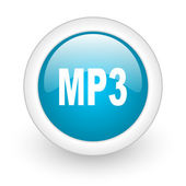 Mp3 blue circle glossy web icon on white background — Stock Photo