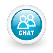 Icône de brillant web chat cercle bleu sur fond blanc — Photo