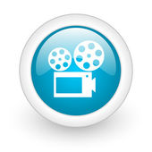 Cinema blue circle glossy web icon on white background — Stock Photo