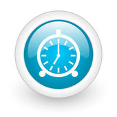 Alarm clock blue circle glossy web icon on white background — Stock Photo