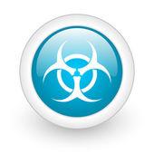 Virus blue circle glossy web icon on white background — Stock Photo