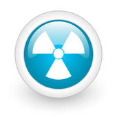 Radiation blue circle glossy web icon on white background — Stock Photo