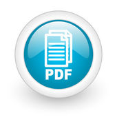 Pdf blue circle glossy web icon on white background — 图库照片