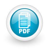 Pdf niebieskie koło www błyszczący ikona na białym tle — Zdjęcie stockowe