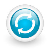 Reload blue circle glossy web icon on white background — Stock Photo