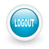 Logout niebieskie koło www błyszczący ikona na białym tle — Zdjęcie stockowe