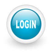 Login blue circle glossy web icon on white background — ストック写真