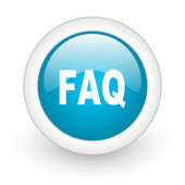Faq blue circle glossy web icon on white background — Stock Photo