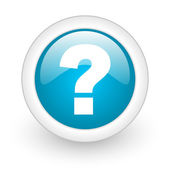 Question mark blue circle glossy web icon on white background — Stock Photo