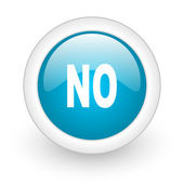 No blue circle glossy web icon on white background — Stock Photo