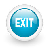 Exit blue circle glossy web icon on white background — Stock Photo