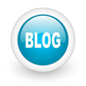 Blog blue circle glossy web icon on white background — Stock Photo