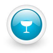 Glass blue circle glossy web icon on white background — Stock Photo