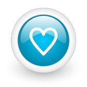 Ícone de web brilhante coração círculo azul sobre fundo branco — Fotografia Stock