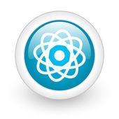 Atom blue circle glossy web icon on white background — Stock Photo