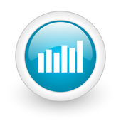 Bar graph blue circle glossy web icon on white background — Stock Photo