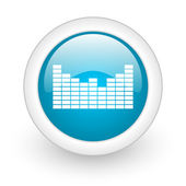 Sound blue circle glossy web icon on white background — Stockfoto