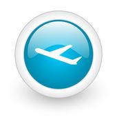 Airplane blue circle glossy web icon on white background — Stock Photo