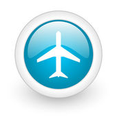 Airplane blue circle glossy web icon on white background — Stock Photo