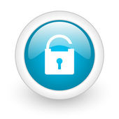 Padlock blue circle glossy web icon on white background — Stock Photo