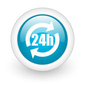 24h blue circle glossy web icon on white background — Stok fotoğraf