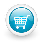 Shopping cart blue circle glossy web icon on white background — Stock Photo
