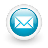 Mail blue circle glossy web icon on white background — Stock Photo