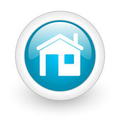Home blue circle glossy web icon on white background — Stock Photo