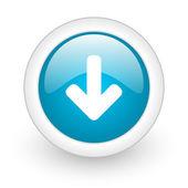 Arrow down blue circle glossy web icon on white background — Stock Photo