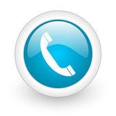 Phone blue circle glossy web icon on white background — Stock Photo