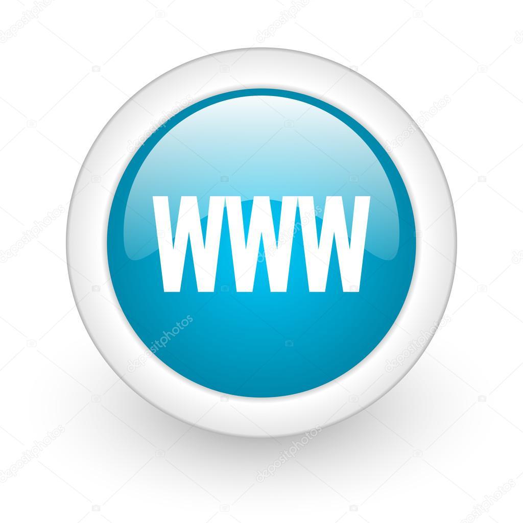 在白色背景上 www 蓝色圆光泽 web 图标
