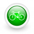 Bicycle green circle glossy web icon on white background — Stock Photo