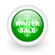 Winter sale green circle glossy web icon on white background — Stock Photo