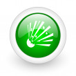 Bomb green circle glossy web icon on white background — Stock Photo