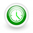 Clock green circle glossy web icon on white background — Stock Photo