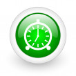 Stock Photo: Alarm clock green circle glossy web icon on white background