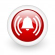 Alarm red circle glossy web icon on white background — Stock Photo