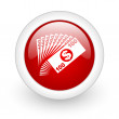Stock Photo: Money red circle glossy web icon on white background