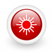 Sun red circle glossy web icon on white background - Stockfoto