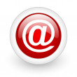 Stock Photo: At red circle glossy web icon on white background