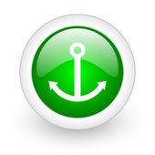 在白色背景上锚绿色圆圈光泽 web 图标 — 图库照片