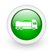 Truck green circle glossy web icon on white background — Stock Photo