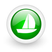 Yacht green circle glossy web icon on white background — Stok fotoğraf
